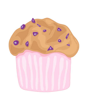 blueberry muffin: an illustration of a delicious blueberry muffin in a pink case on a white background