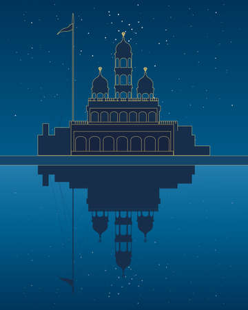 sikhism: an illustration of a stylized gurdwara temple beside a sarovar with reflection under a starry night sky