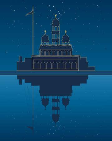 gurdwara: an illustration of a stylized gurdwara temple beside a sarovar with reflection under a starry night sky