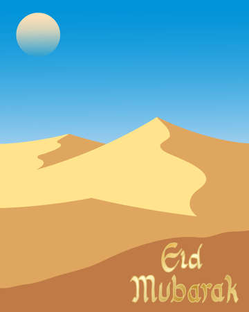 sand dunes: an illustration of a very hot desert landscape with sculptured sand dunes under a hot sky in greeting card format with the greeting eid mubarak