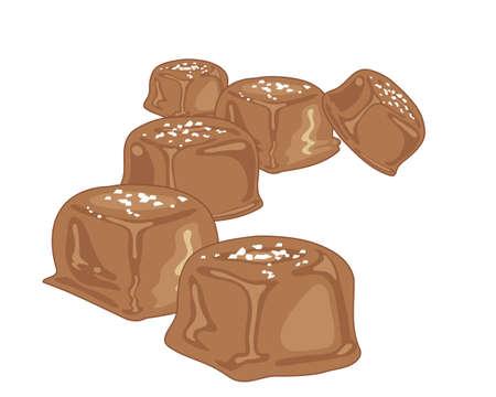 sal: una ilustración de piezas de dulces de caramelo con una cobertura de chocolate y una pizca de sal de mar sobre un fondo blanco Vectores
