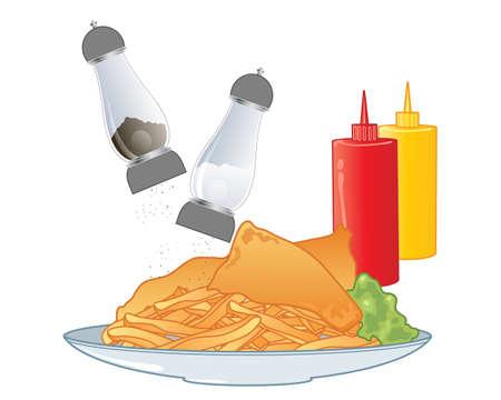 condimentos: una ilustraci�n de un plato de pescado y patatas fritas con sal y pimienta y salsa de tomate y mostaza condimentos sobre un fondo blanco Vectores