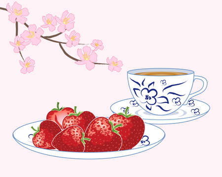 snack time: an illustration of ripe strawberries on a blue and white plate with matching tea cup and saucer with pink blossom decoration