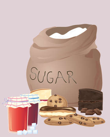 sugar cookies: an illustration of a sack of sugar with a group of cakes preserves and cookies on a brown background Illustration