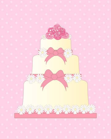 tiers: an illustration of a wedding invitation card with a tiered cake decorated with daisies ribbon and a posy of roses on a pink spotty background