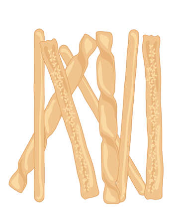crispy: an illustration of delicious crispy golden bread sticks in different shapes on a white background