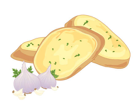 garlic bread: an illustration of crunchy garlic bread with butter and garlic bulbs and cloves for decoration Illustration