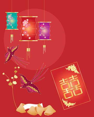 chinese lantern: an illustration of a chinese greeting card with lantern birds fortune cookies and money envelope on a red sun background