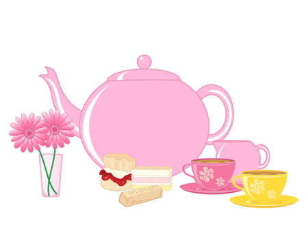 scone: an illustration of a traditional english cream tea with teapot cups and cakes on a white background