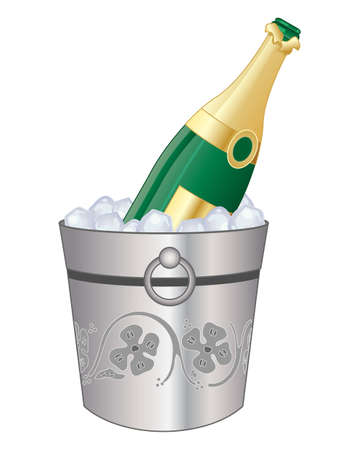 ice cubes: an illustration of a bottle of champagne in a decorative silver bucket with cool ice cubes on a white background Illustration