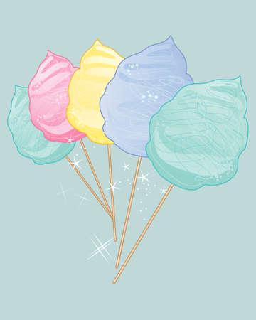 algodon de azucar: una ilustración de deliciosos dulces de algodón en colores de la vendimia en un fondo de jade
