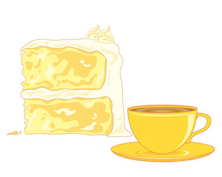 sponge cake: an illustration of a butter sponge cake  and a cup of tea on a white background Illustration