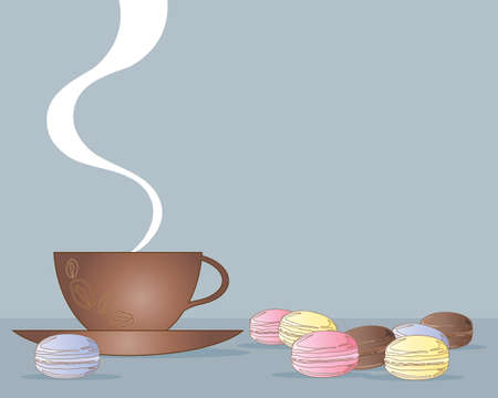 snack time: an illustration of a cup of coffee with delicious colorful macaroons on a vintage blue background Illustration