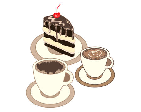 an illustration of two cups of coffee with a delicious slice of chocolate cake on a white background
