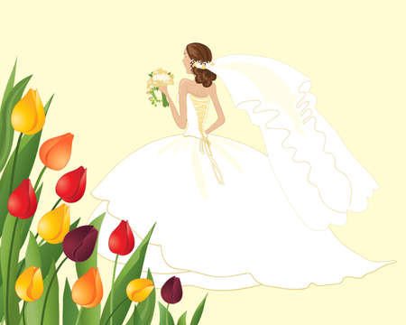 gold woman: an illustration of a beautiful spring bride in a white and gold dress with colorful tulips on a lemon background