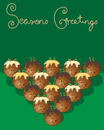 seasons greetings: an illustration of a christmas greeting card with traditional puddings on a green background with the words seasons greetings