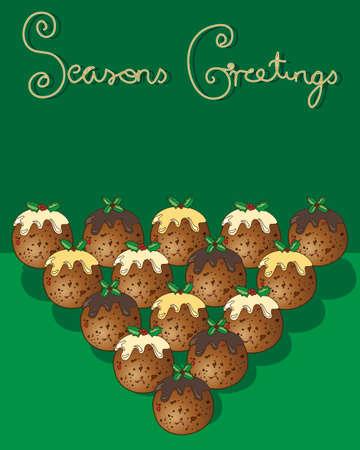 seasons greetings: l'illustrazione di un biglietto di auguri di Natale con dolci tradizionali su uno sfondo verde con le parole stagioni saluti Vettoriali