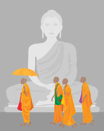 robes: an illustration of a stone statue of buddha with pilgrim buddhist monks in orange robes