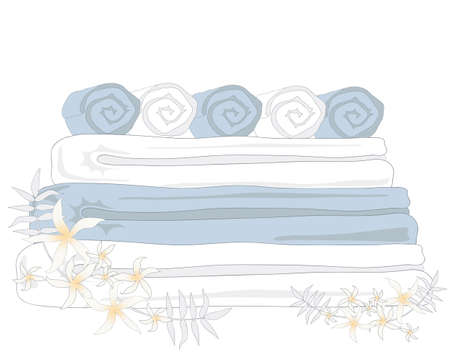 towel: an illustration of clean fresh spa towels with jasmine flowers on a white background