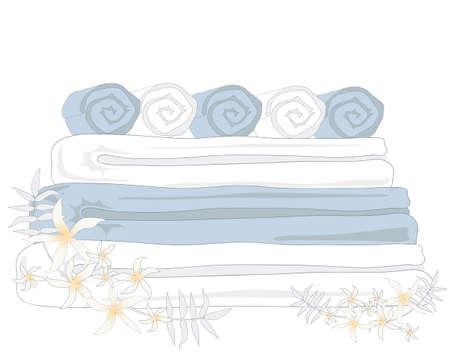 toalla: una ilustración de spa toallas limpias y frescas con flores de jazmín en un fondo blanco