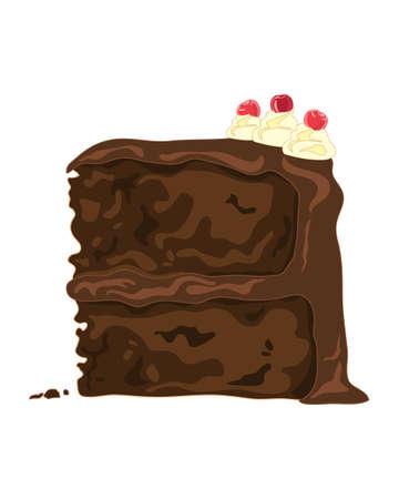 pastel de chocolate: una ilustración de una rebanada de pastel de chocolate con remolinos de la crema y decoración de cereza en un fondo blanco