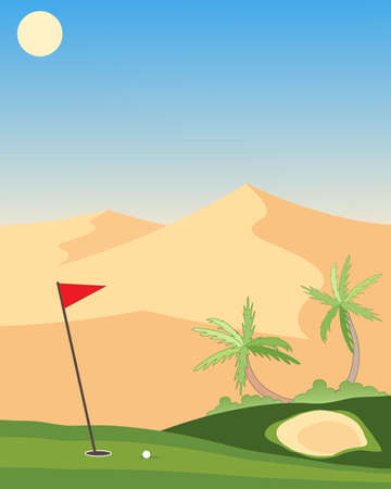 putting green: an illustration of a lush green golf course with sand bunker putting green flag and ball in a desert landscape under a hot sun