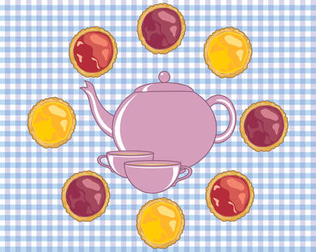 advert: an illustration of a teapot with matching cups surrounded by delicious jam tarts in an advert format Illustration
