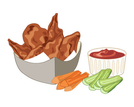 dip: an illustration of a serving of buffalo wings in a container with carrot and celery sticks with a spicy hot dip on a white background Illustration