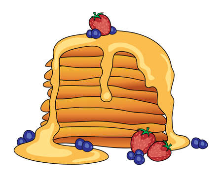 drizzle: an illustration of a stylized stack of pancakes with maple syrup and fruit on a white background