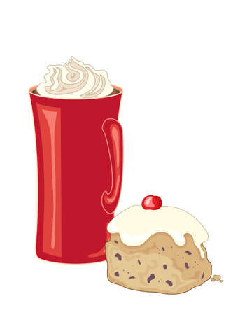 whipped cream: an illustration of a red mug of coffee with whipped cream topping beside an iced bun with cherry decoration on a white background Illustration