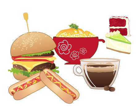 macaroni: an illustration of a american diner savory meals and desserts including macaroni and cheese hot dogs burger key lime pie and red velvet cake on a white background Illustration