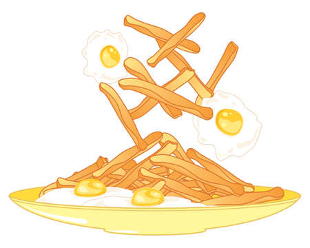 an illustration of a plate of fried eggs and french fries served on a yellow plate with white background