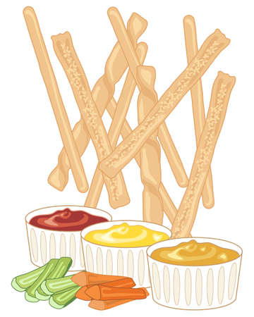 freshly baked: an illustration of freshly baked breadsticks scattered on a white background with three dipping sauces and carrot and celery fingers Illustration
