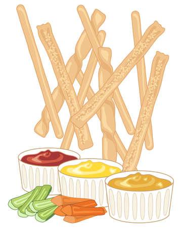 gressins: une illustration de gressins fraîchement cuits éparpillés sur un fond blanc avec trois sauces et carottes et de céleri doigts