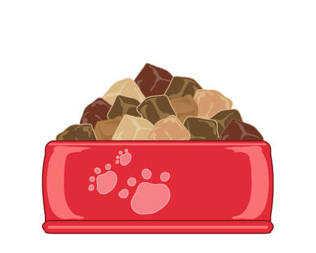 meat food: an illustration of a bright red ceramic pet food bowl full of chunks of meat on a white background