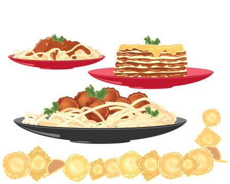 pasta: an illustration of three pasta dishes including spaghetti bolognese meatballs lasagne and ravioli on a white background Illustration
