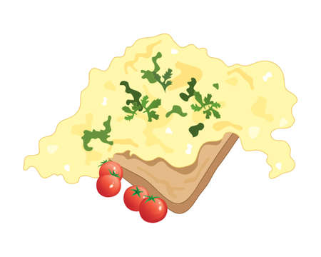 free range: an illustration of scrambled eggs on toast with cherry tomatoes and cilantro garnish on a white background Illustration