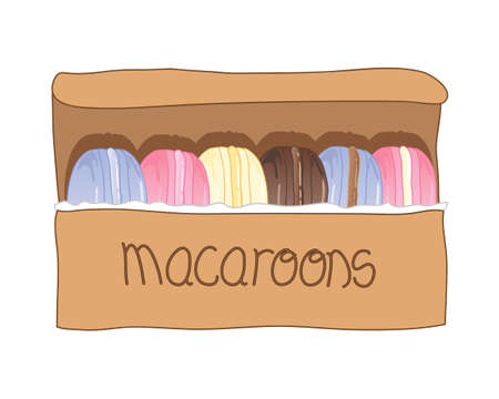 treats: an illustration of a row of colorful macaroon treats presented in a rustic cardboard gift box on a white background Illustration