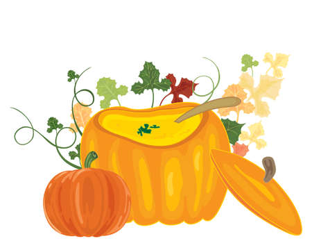 home grown: an illustration of savory soup in a bowl made from a pumpkin with lid and foliage in a white background