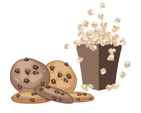 chocolate chip: an illustration of chocolate chip cookies with fresh popcorn on a white background