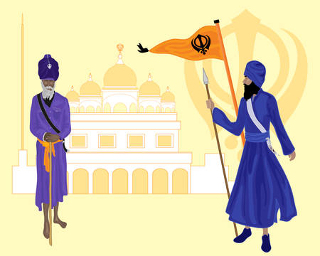 sikh: an illustration of two khalsa sikh devotees with gurdwara nishan sahib flag and sikh symbol on a yellow background