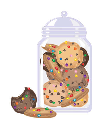 an illustration of crunchy cookies with colorful candy pieces in a glass jar on a white background