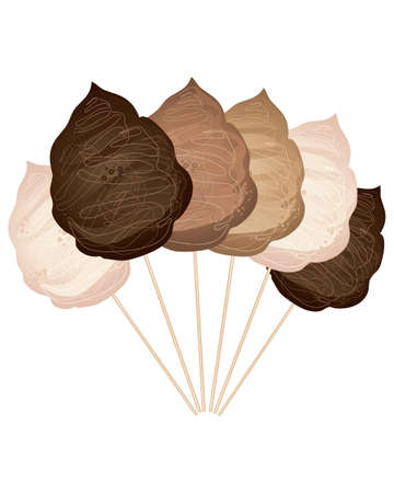spun sugar: an illustration of chocolate cotton candy on sticks in various shades on a white background