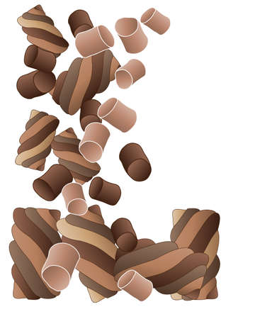 chocolate treats: an illustration of chocolate marshmallow candy in smooth and twists tumbling on a white background Illustration