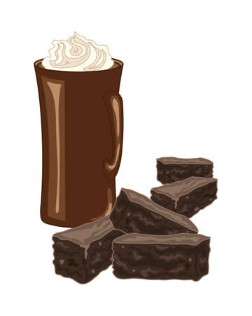 whipped cream: an illustration of chocolate brownies with a mug of coffee and whipped cream swirl on a white background