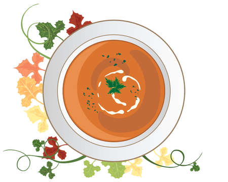 garnish: an illustration of a bowl of seasonal pumpkin soup with herb and cream garnish and foliage decoration on a white background Illustration