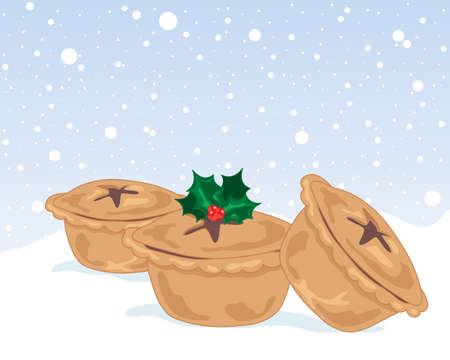 an illustration of three festive mince pies with holly and star decoration on a snowy background