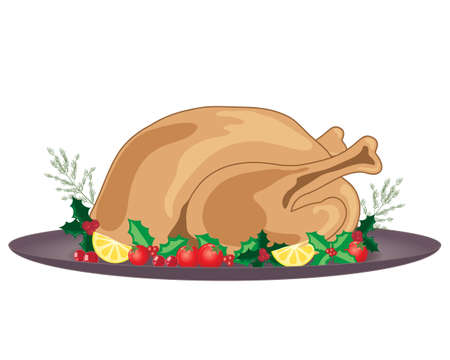trimmings: an illustration of a cooked and dressed christmas turkey with holly decoration and gray plate on a white background