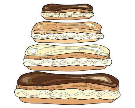 eclair: an illustration of cream filled choux buns with chocolate frosting on a white background