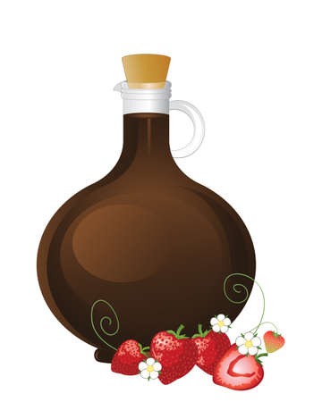 stopper: an illustration of a fancy glass bottle of balsamic vinegar with whole and half strawberries flowers and decoration on a white background